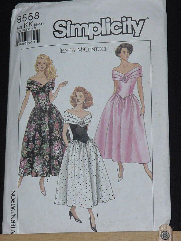 Simplicity 9558 Jessica McClintock off the shoulder Dress Full Skirt size KK 8-14  No. 206