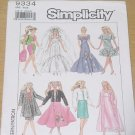 9334 Simplicity Dresses for Barbie dolls 11 1/2 inches.  No. 208