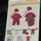 Simplicity 2347 Babies Romper Dress Panties Hats size A xxs, xs,s m, l No. 216