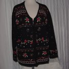 Christmas sweater Cardigan Zip Front Pearls Sequins Beads Poinsettias No. 218