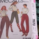 McCall sewing Pattern jodhpurs Knicker Pants 7670 Size 10 waist 25 No. 193