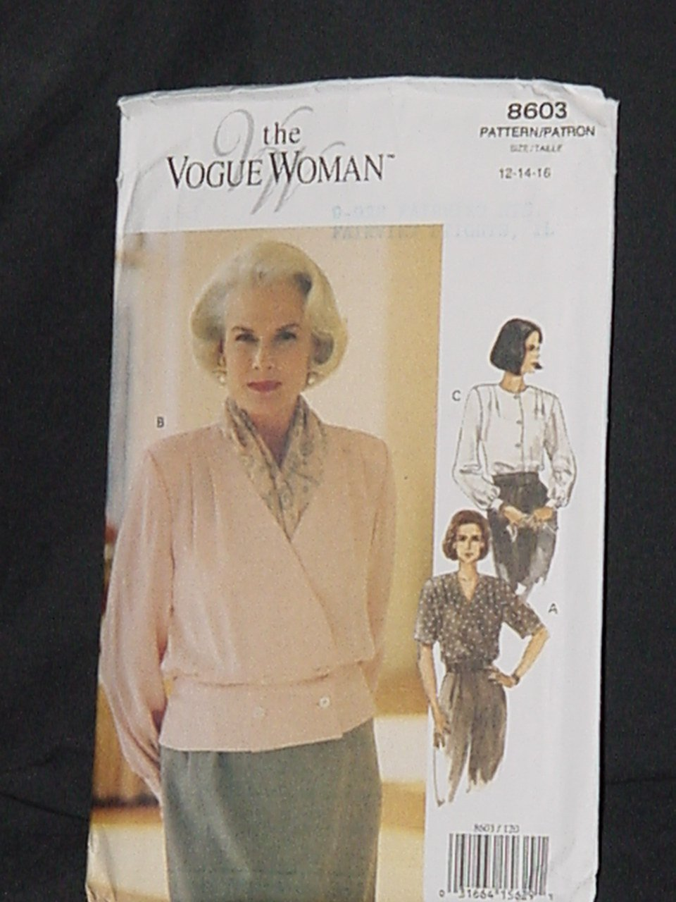 Vogue Woman 8603 Blouse Size 12, 14, 16  No. 226