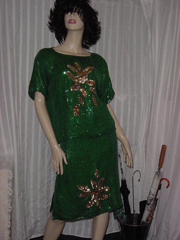 Green Gold Sequin Beaded Top Skirt Large Skirt needs Waist Elastic Repair  No. 227