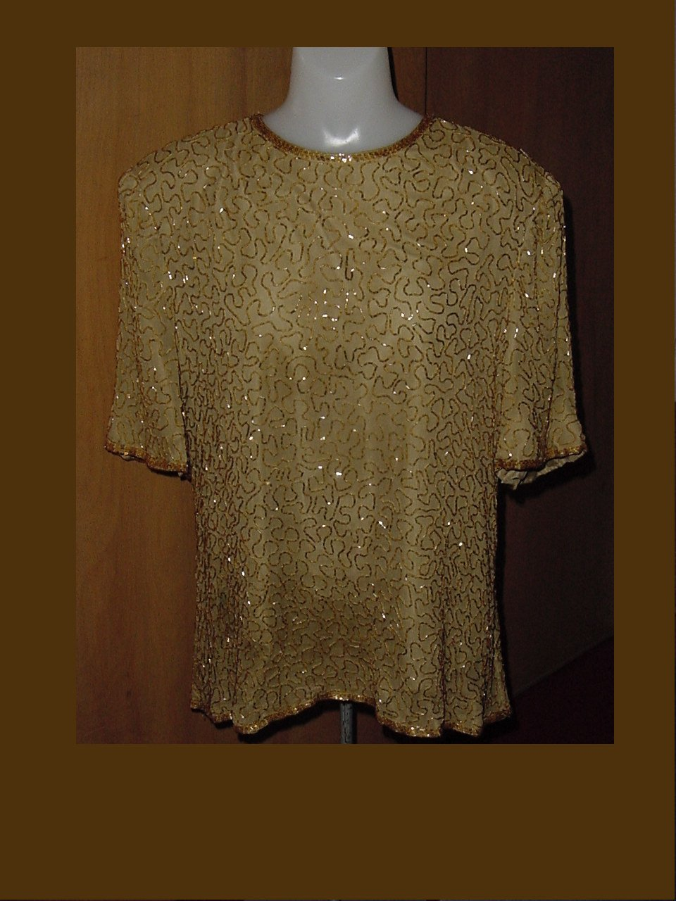 Laurence Kazar Gold Beaded blouse pullover 2X evening top No. 227