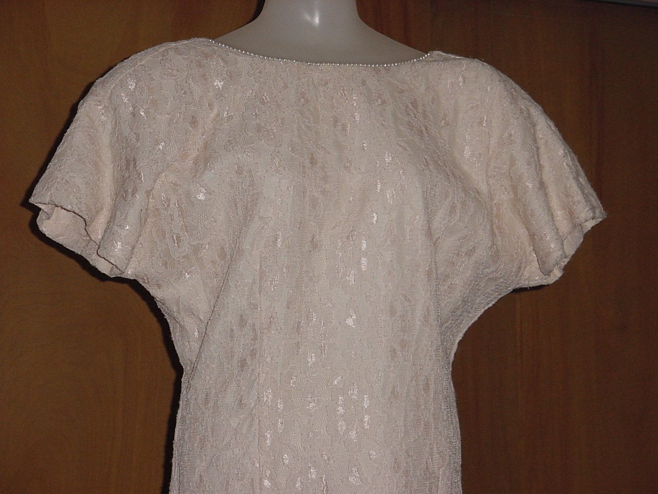 Datiani Pink Special Occasion Dress Lace Overlay Pearl Trim Size 10 No. 227
