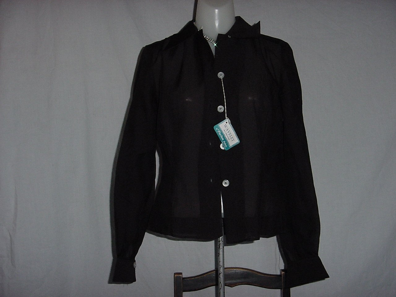 Mad Men Sheer Vintage Black Blouse Wavelet Button Front Blouse Long Sleeves Size 32  No. 240