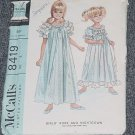 McCall's Vintage Sewing Pattern 8419 Girls Robe Nightgown Size 4 Chest 23 No. 247
