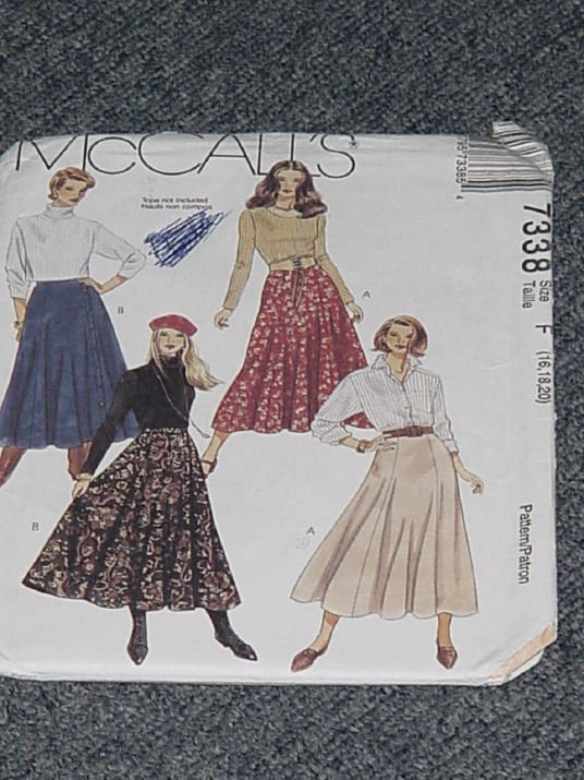 7338 McCalls Misses Skirts A-Line Skirts  Size F 16, 18, 20 Uncut   No. 250
