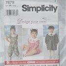 Simplicity Pattern 7679 Girls Size AA 1/2, 1, 2 Toddler Jumpsuit, Jumper, Dress No. 251