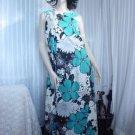 Hukilau Hawaii Vintage Hawaiian dress Blue Flower Maxi dress 1970s  No. 313