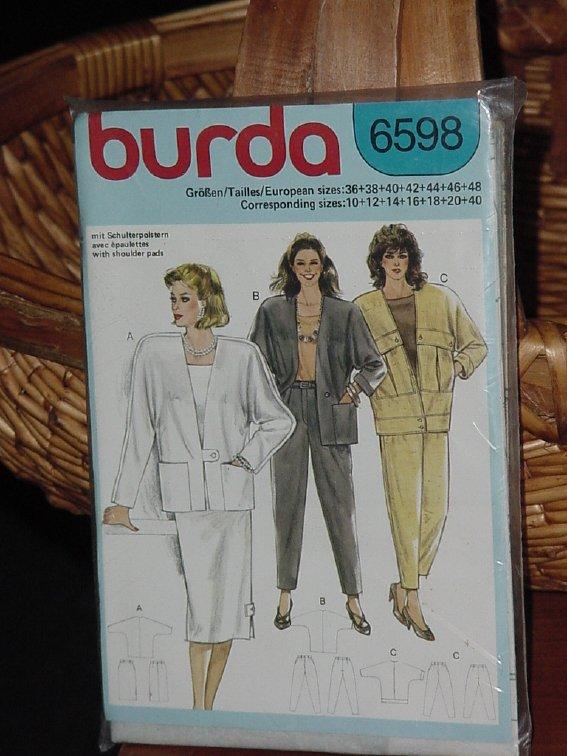 6598 Burda Jacket Skirt Slacks Pants size 10-20  Dec 3