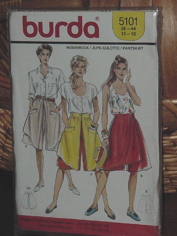 5101 Burda Culotte Pant Skirt size 10-18  Dec