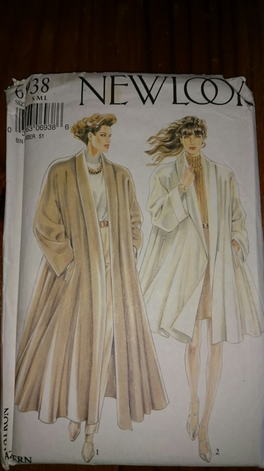 New Look 6938 Swing Coat S M L  No. 225