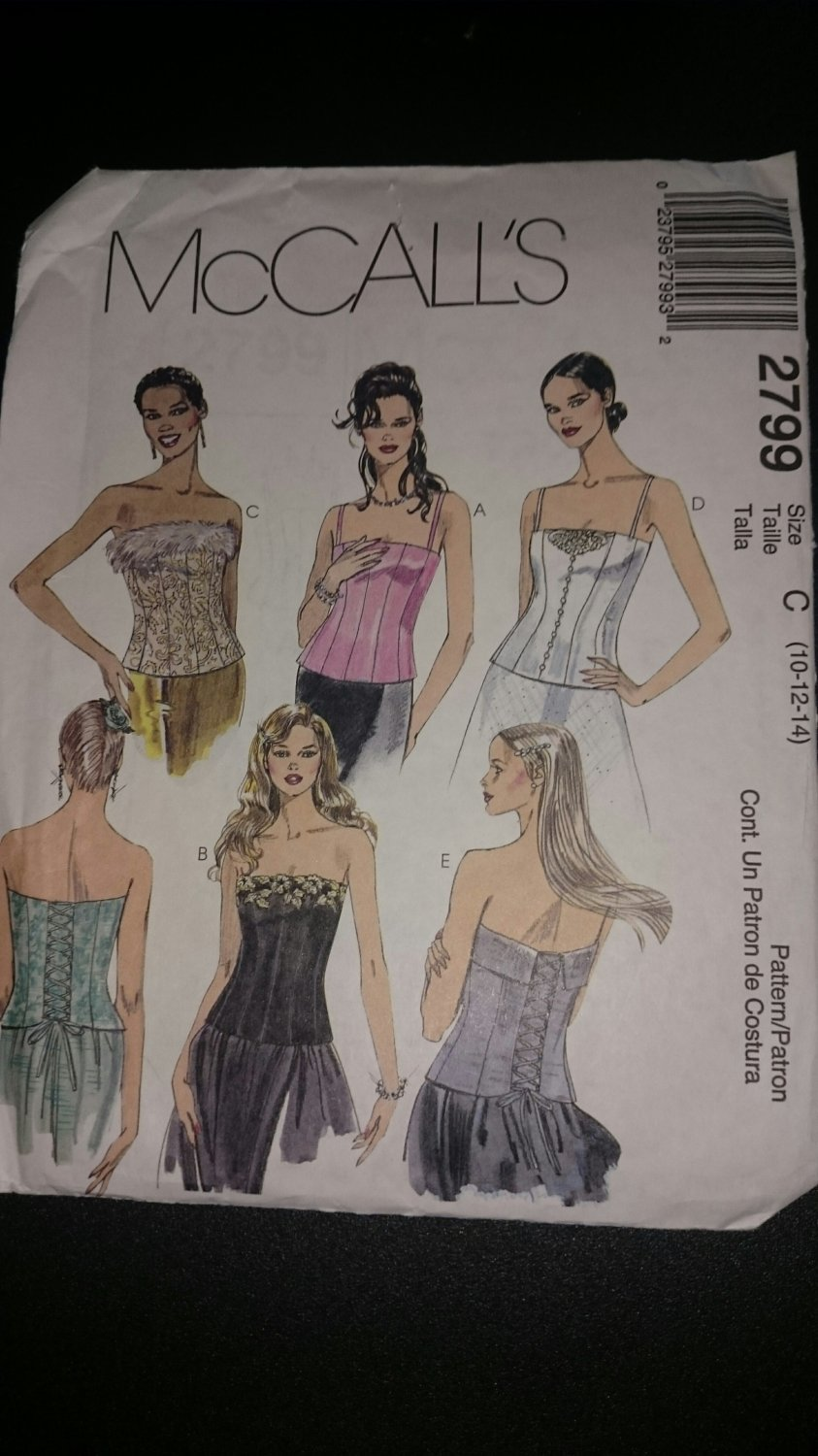McCall's 2799 Misses Lined Bustiers size 10-12-14 dec 3