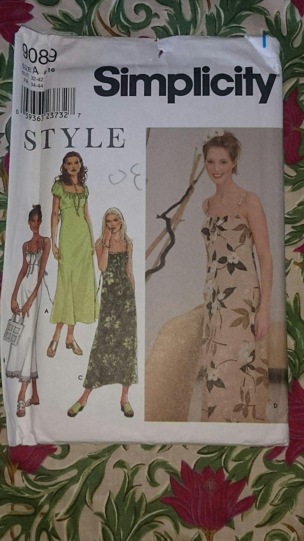 Style Simplicity 9089 uncut Misses' Dress Size A 6-16 dec 3