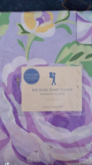New Pottery Barn Kids Twin Duvet Big Rose Purple
