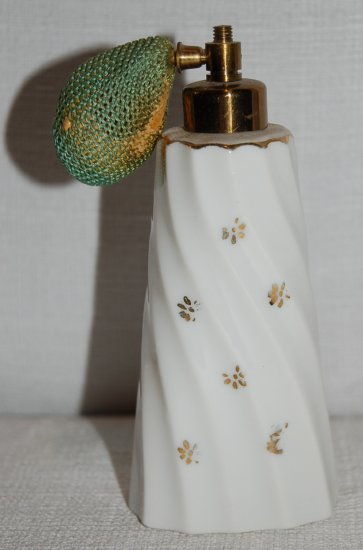 White Porcelain Perfume Bottle / Atomizer w/ Gold Decoration