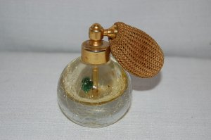 Vintage Crackle Glass Perfume Atomizer / Bottle