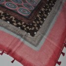 Scarf - Peach & Brown Pattern Square Scarf -
