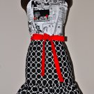 Gorgeous Retro Newspaper Print Ring Dot Apron with Red and Ruffles