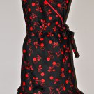 Stylish Cherry Wrap Dress Style Apron with Ruffles