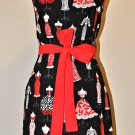 Gorgeous Black and Red Dress Pattern Apron with Ruffles