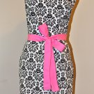Stylish White & Black Damask Apron with a Touch of Pink and Ruffles