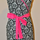 Stylish Black & White Damask Apron - Wrap Dress Style with a Touch of Pink and Ruffles