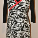 Stylish Zebra Apron - Wrap Dress Style with a Touch of Red and Ruffles