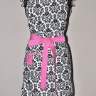 Valentines Day Stylish Damask Apron with a Heart Pocket and a Touch of Pink with Ruffles