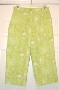 Studio Works Petites Green & White Floral  Capris Cropped Pants Size 8P  NWT $36