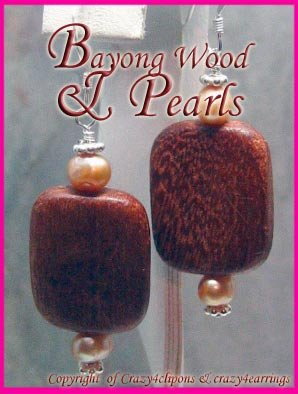 Wood & Pearls Unconventional earrings
