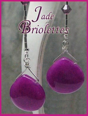 Retro Hip  Jade briolette Liquid Silver Earrings