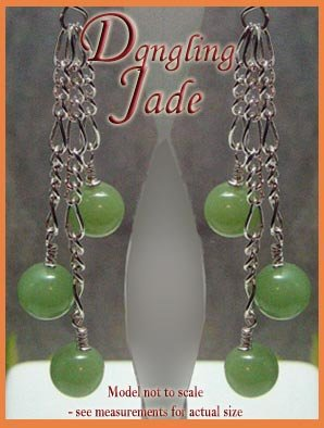 Jade beads Dangling Silver Earrings