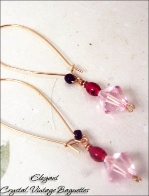 Gold Plated: Crystal Long ear wire dangling earrings