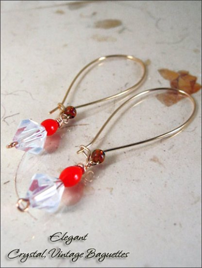 Gold Plated: Crystal Long ear wire dangling earrings