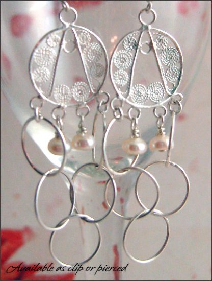 Sterling Silver: Dangling chandelier earrings