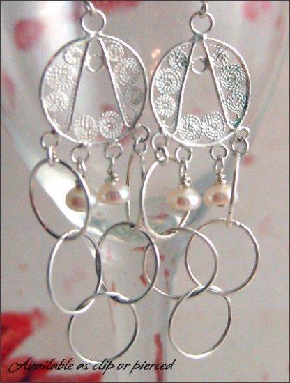 Sterling Silver: Dangling chandelier earrings