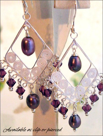 Sterling silver: Fabulous Swarovski chandelier earrings