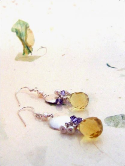 Sterling Silver: Soft romantic crystal pearl earrings