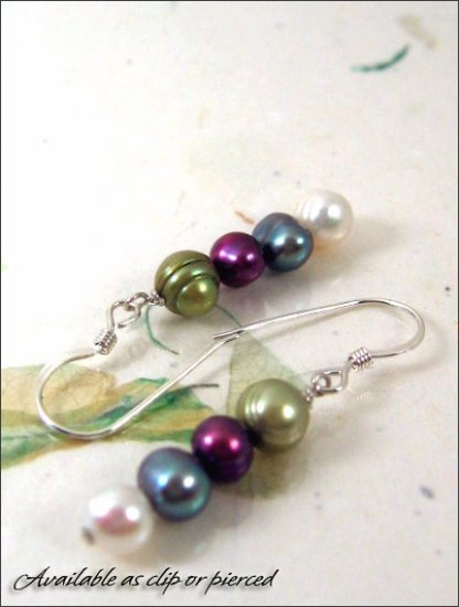 Sterling silver: Multicolored pearl earrings