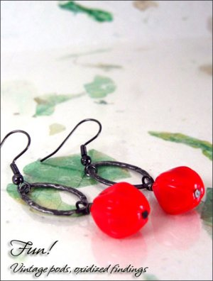 Vintage Hot Pods: Lipstick Red oxidized silver earrings