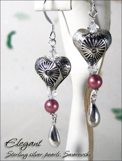 Sterling silver: Elegant Heart pearl dangling earrings