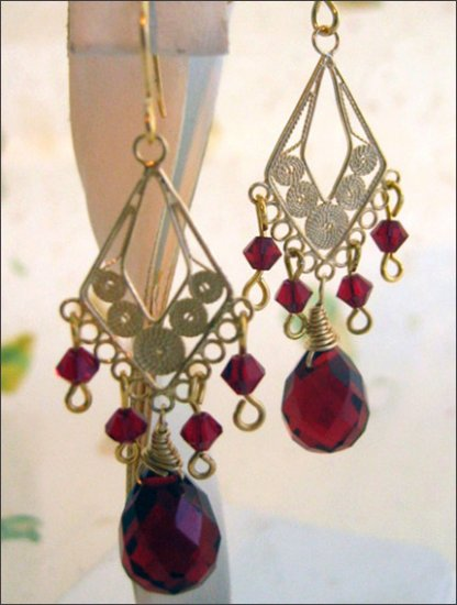Gold filled Festive red crystal Swarovski earrings