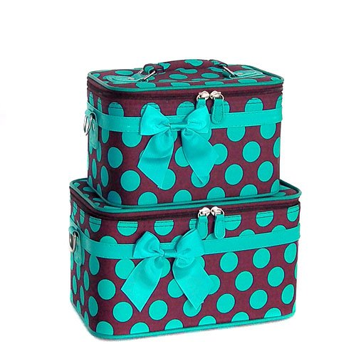 Brown Blue Polka Dot Make-up Train Case Set