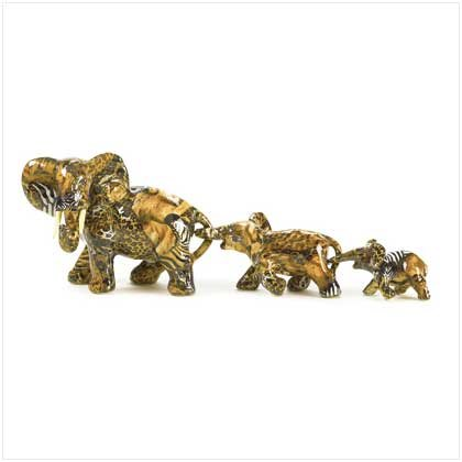 PATCHWORK ELEPHANT FAMILY FIGURINES
