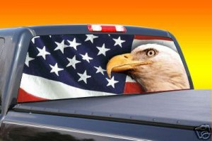 American flag with eagle