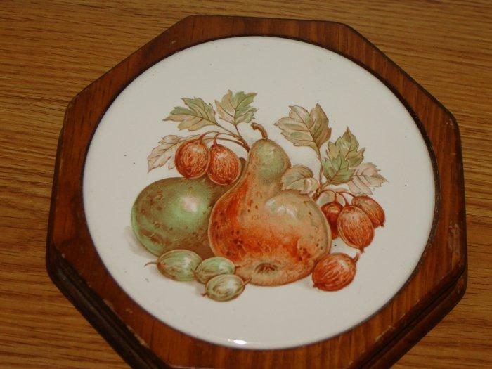 vintage trivet hexagon shape wood round tile with pear fruit design 7 inch