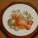 vintage trivet hexagon shape wood round tile with pear fruit design 7 inch