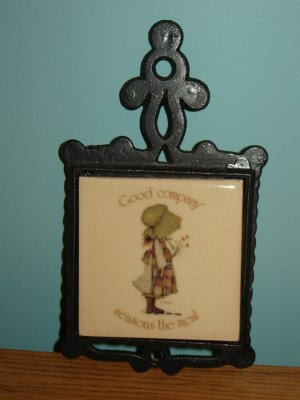 Holly Hobbie vintage trivet small tile black metal wrought iron look